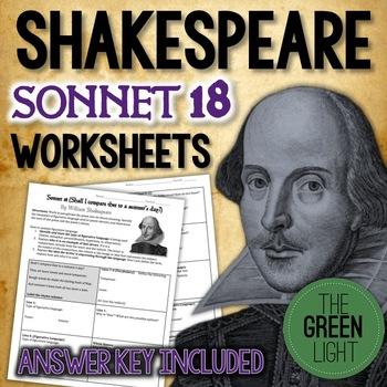 Shakespeare's Sonnet 18 Worksheet, Packet, Lesson Plan w/ Answer Key
