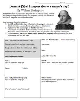 shakespeare 39 s sonnet 18 worksheet packet lesson plan w answer key. Black Bedroom Furniture Sets. Home Design Ideas