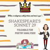 Shakespeare's Sonnet 29 Foldable for Poetry Analysis