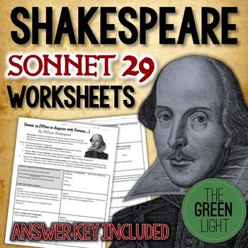 Shakespeare's Sonnet 29 Worksheet, Packet, Lesson Plan