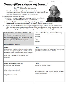 Shakespeare\'s Sonnet 29 Worksheet, Packet, Lesson Plan by The ...
