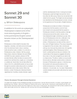 Shakespeare's Sonnets 29 and 30: Theme Developed Through Internal Dynamics