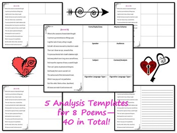 Shakespeare's Sonnets Analysis Templates and Graphic Organizers