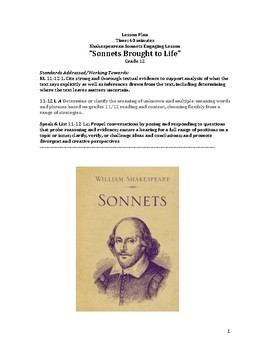 Shakespeare's Sonnets Brought to Life: A 65 minute lesson