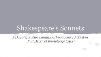 Shakespeare's Sonnets Unit Study