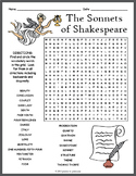 Shakespeare's Sonnets Word Search Worksheet