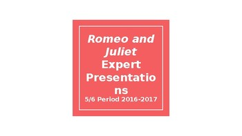 Shakespeare's Time Expert Presentations Research Project Activity