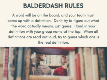 Shakespearean Balderdash - Word Game