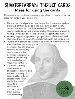 Shakespearean Insults Activity Cards: Vocabulary With Definitions