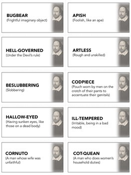 shakespearean insults activity cards vocabulary with definitions. Black Bedroom Furniture Sets. Home Design Ideas