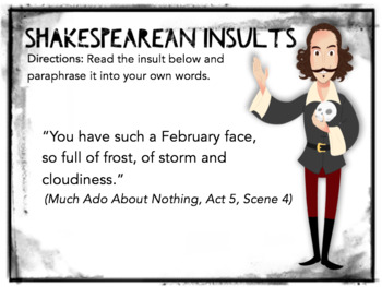 Shakespearean Insults Task Cards: Fun Translation Activity, Bell-Ringers
