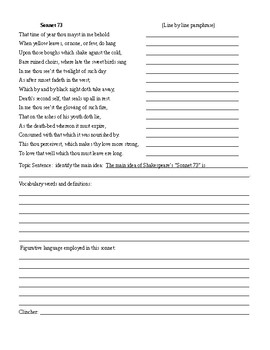Shakespearean Sonnet Analysis Packet and KEY