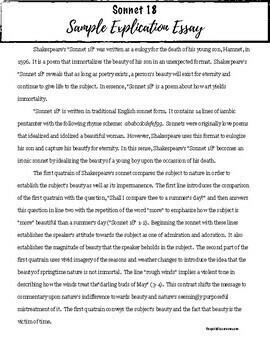 Shakespearean Sonnet Explication Assignment, Sample, & Rubric