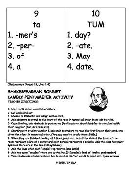 Shakespearean Sonnet Iambic Pentameter Activity