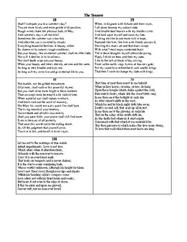 Shakespearean Sonnet Test and KEY  (100question test)