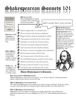Shakespearean Sonnets 101 Sheet