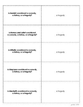 Shakespearean Trivia Cards - a pack of 125 questions and answers