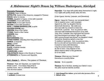 A Midsummer Night's Dream-Abridged Play Script