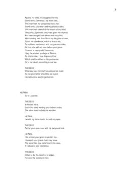 Shakespeare's A Midsummer Night's Dreeam Cut Script
