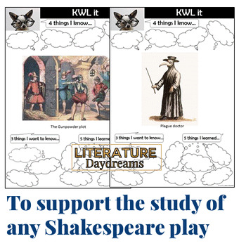 Shakespeare and Shakespeare's England KWL charts