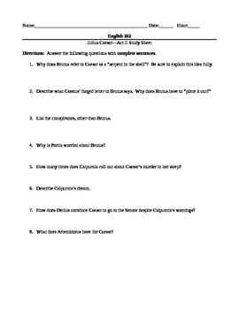 Shakespeare's Julius Caesar--Acts I-V Worksheets