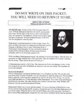 Shakespeare's Life Packet