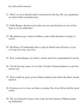 Shakespeare's Macbeth Lines for Tossing - Prereading/Frontloading