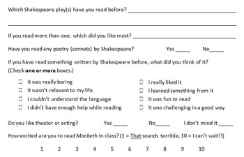 Shakespeare's Macbeth Surveys for Before Reading and After Reading