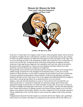 Shakespeare's Measure for Measure for Kids