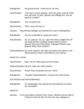 Shakespeare's Richard II for Elementary students