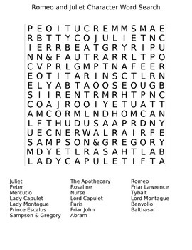 Shakespeare's Romeo and Juliet Character Wordsearch