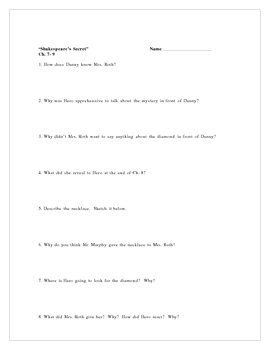 """Shakespeare's Secret"", by E. Broach, Comprehension Questions"