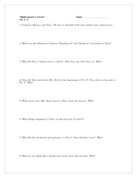 """""""Shakespeare's Secret"""", by E. Broach, Comprehension Questions"""