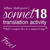 Shakespeare's Sonnet 18 Translation Activity (Free!)