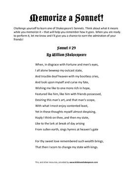 Shakespeare's Sonnets by Kids Love Shakespeare! | TpT