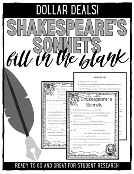 Shakespeare\'s Sonnets Fill-in-the-Blank by Katie is a Teacher | TpT