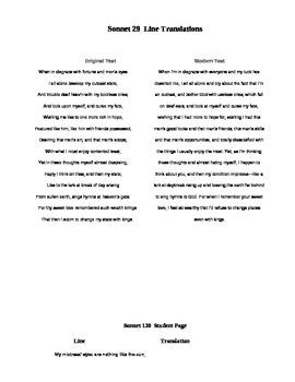 Shakespeare's Sonnets Group Translation Activity