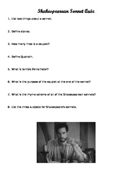 Shakespeare's Sonnets Notes, Key, and Quiz