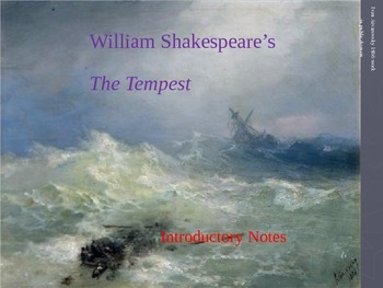 Shakespeare's The Tempest Introductory Notes