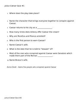 Shakespeare's The Tragedy of Julius Caesar- Unit Plan