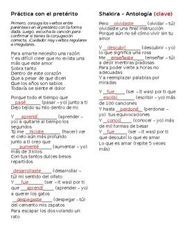Shakira Antologia Preterite Practice Worksheet