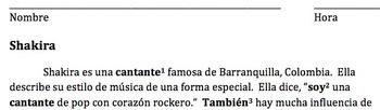 Shakira Sale el Sol/ Cloze Activity with Weather