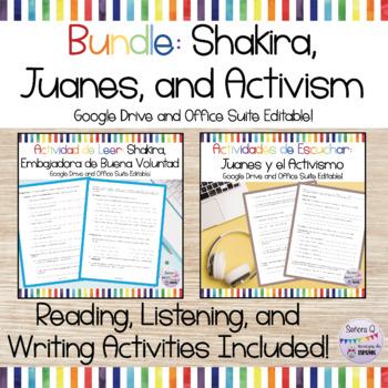 Shakira and Juanes Bundle - Actividades de Leer, Escuchar, y Escribir