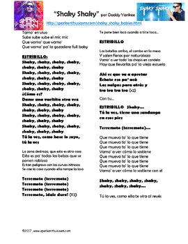 Shaky Shaky Song Lyrics & Activities in Spanish - Daddy Yankee - Musica