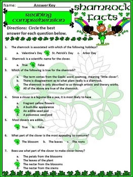 St. Patrick's Day Reading Activities: Shamrock Facts Activity Packet