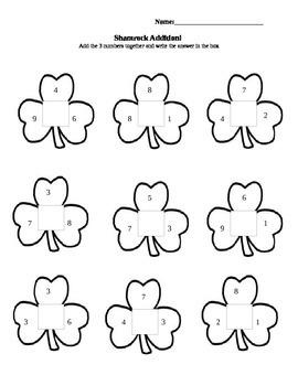 Shamrock 3 Number Addition