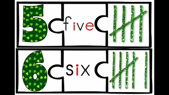 Shamrock 3 Part Puzzles for Counting and Cardinality 1-20