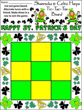Shamrock Activities: Shamrocks & Celtic Harps Tic-Tac-Toe Game Activity - Color