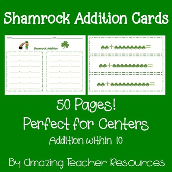 Shamrock Addition Cards - Math Centers! Addition within 10