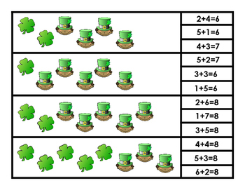 Shamrock Addition Clip Cards
